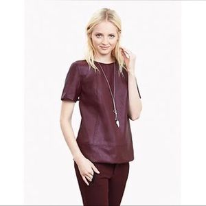 BANANA REPUBLIC FAUX LEATHER BURGUNDY TOP US XS